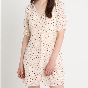 NWOT Madewell Silk Button-Front Strawberry Dress